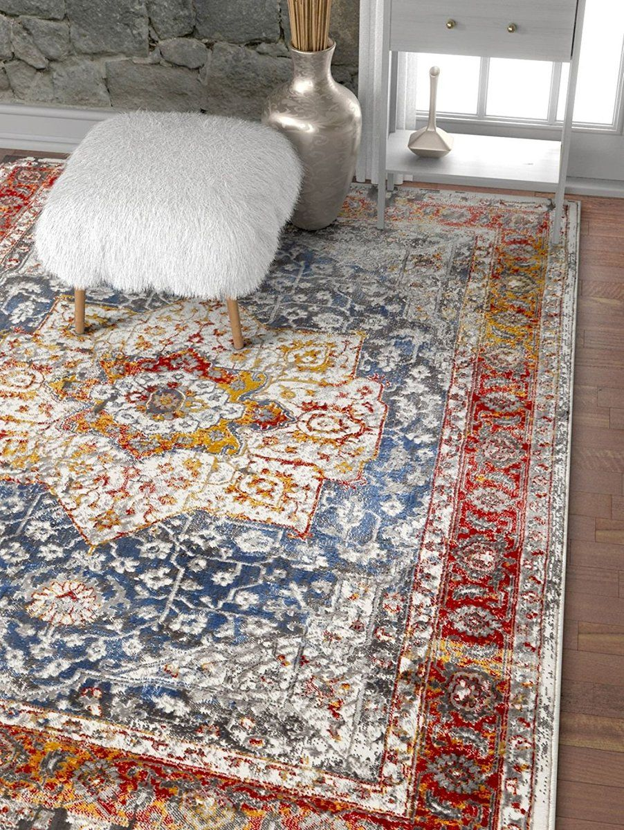 Modern Floral Persian Design Yellow Red Blue Area Rug Persian Rug Living Room Rugs Area Rugs #red #living #room #area #rugs