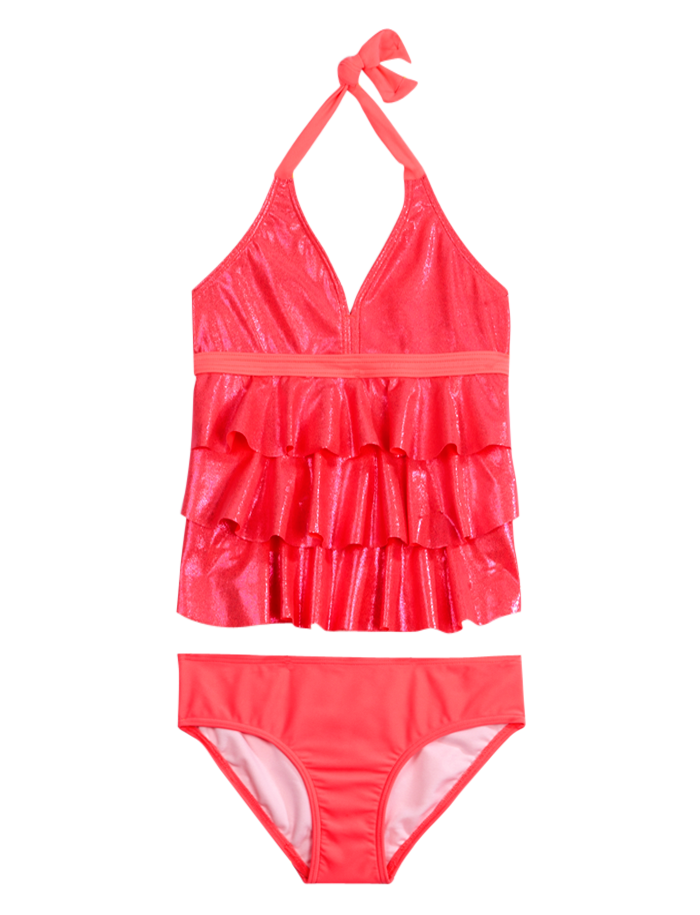 Foiled Ruffle Tankini Swimsuit Tankinis Swimsuits Shop Justice Swimsuits Swimsuits For Teens Bathing Suits