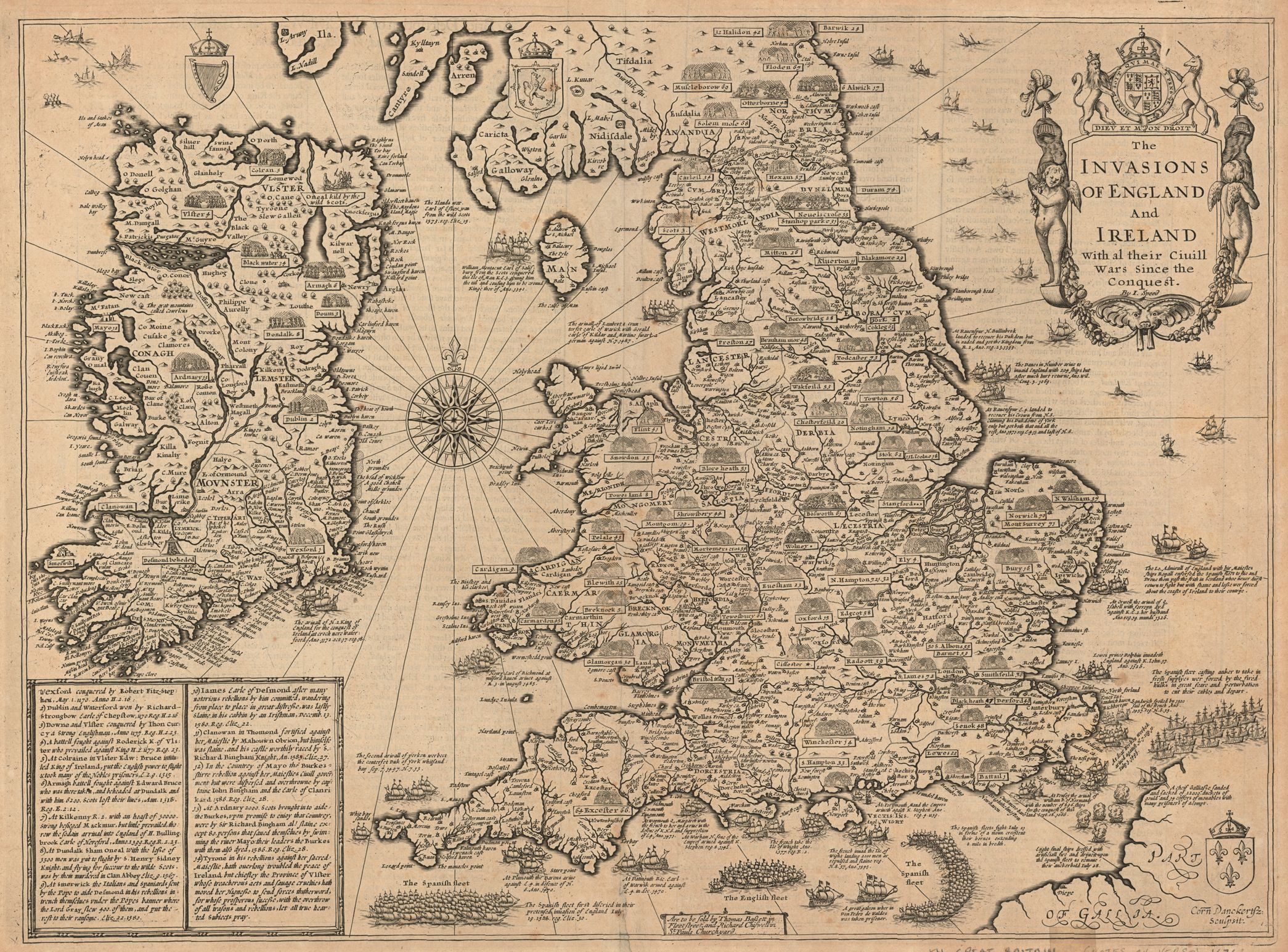 The Invasions Of England And Ireland With Al Their Ciuill Wars Since The Conquest Map By John Speed 1676 Antique World Map Ancient Maps Old World Maps