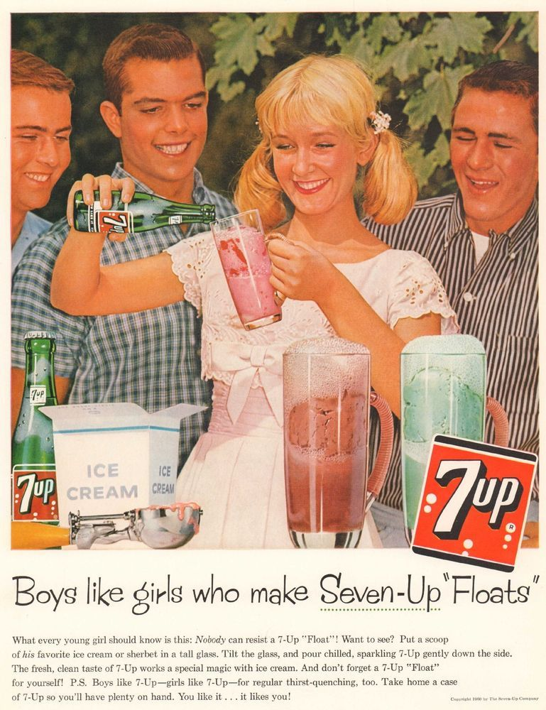 1960 Ad 7 UP Soda Boys Blonde Girl Teens Ice Cream Float Print Ad