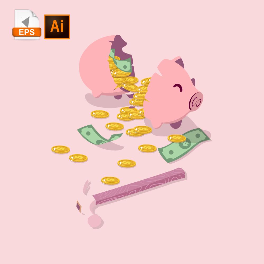 18+ Broken piggy bank clipart information