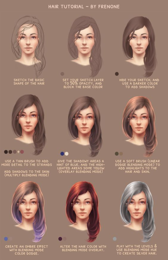 How To Draw Hair Tutorial Using Photoshop By Frenone On Deviantart How To Draw Hair Digital Painting Tutorials Hair Tutorial