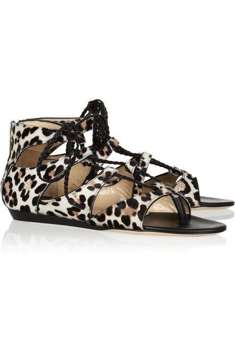 Jimmy Choo Leopard-print calf hair sandals