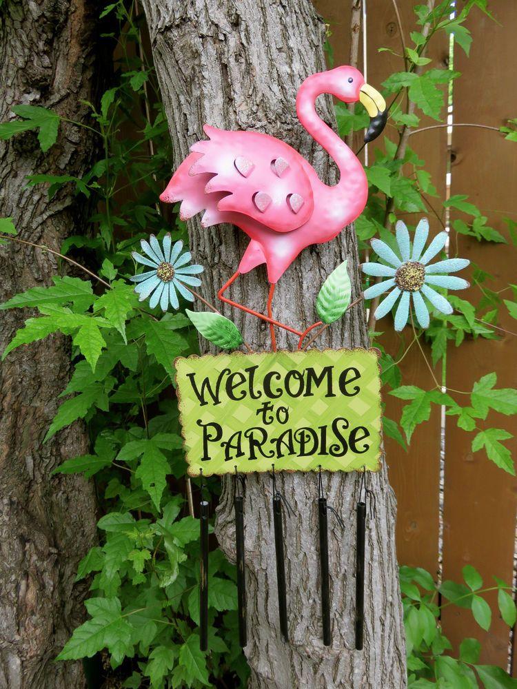 Flamingo Metal Wind Chime Garden Decor Yard Decoration New 400 x 300