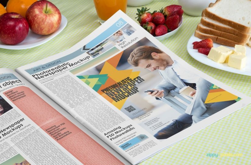 Opened Newspaper Ad Mockup Showing Large Ad   Beautiful Indoor