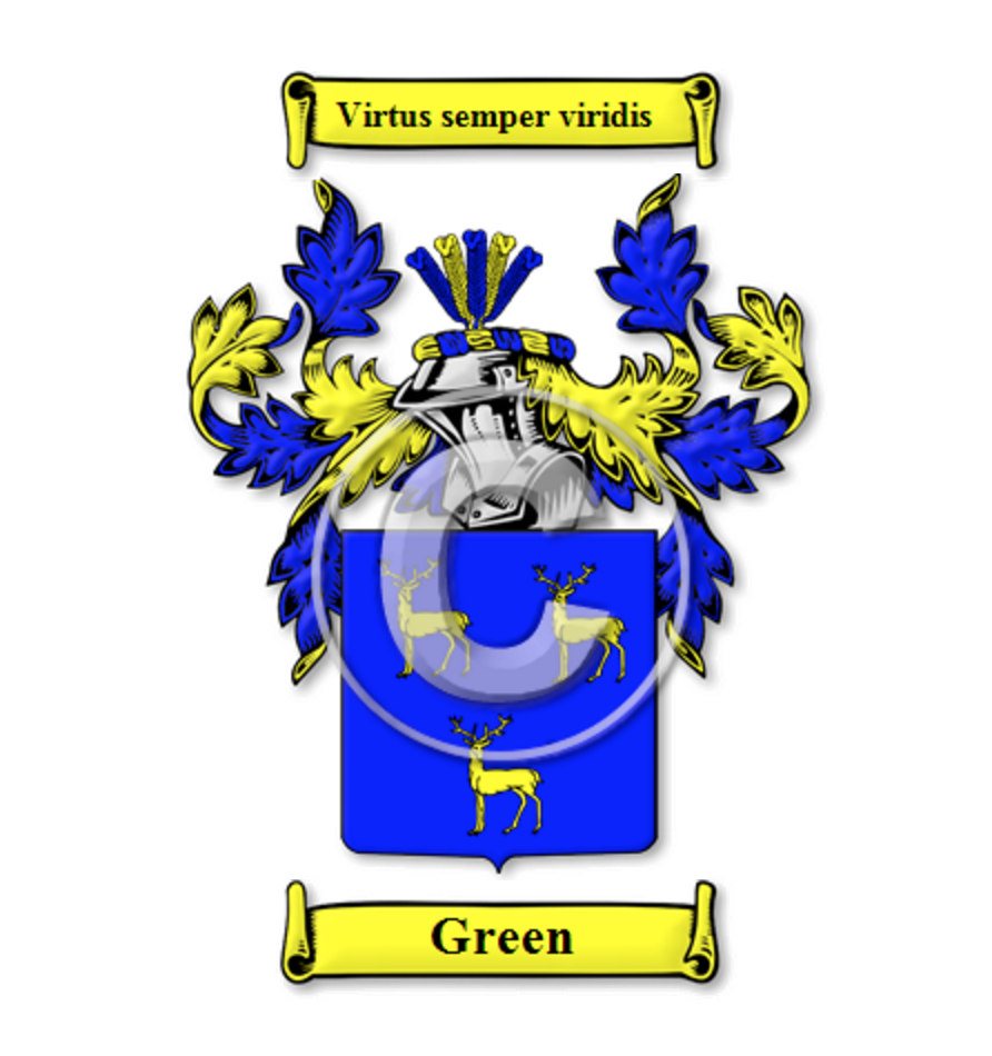 Attractive Green Family Crest / Coat Of Arms | Image Via House Of Names