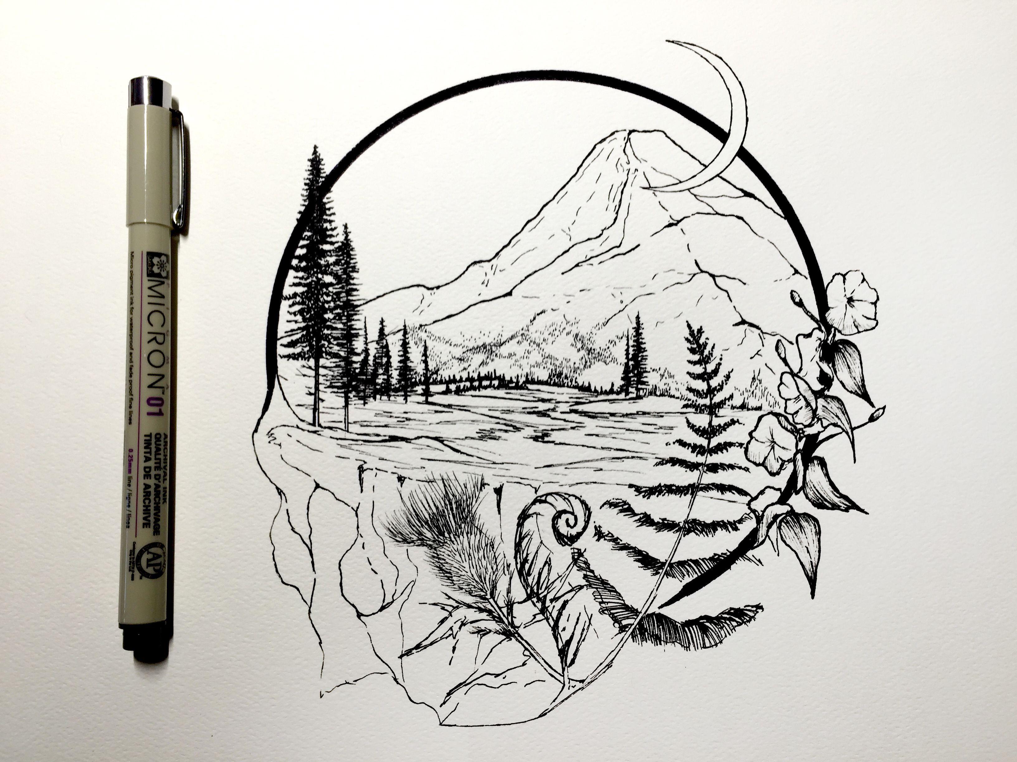 Scenery Drawing Tumblr Snow Beauty Winter Illustration Art Mine