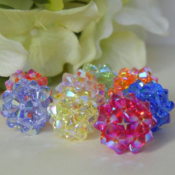 Bead Crystal Swarovski Crystal by LisaBolandJewelry on Etsy,   These yummy little beads are created by weaving together tiny Swarovski crystals. They're a simple but sparkling addition to your jewelry box. $17.00