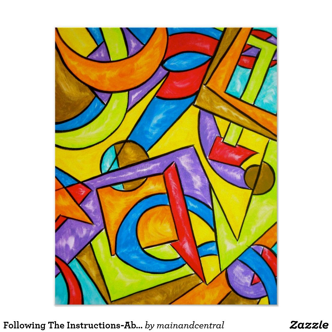 following the instructions poster with hand painted abstract art