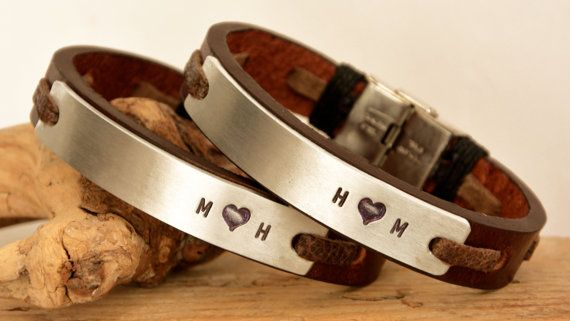 Couple Bracelets Leather Personalize Genuine Leather by PukkaMen