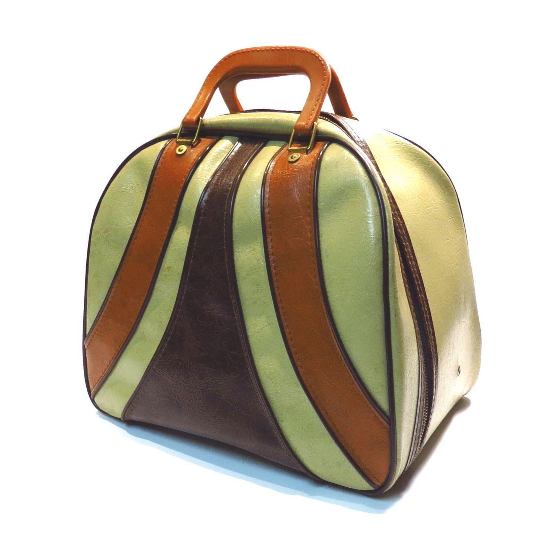Brown And Tan Stripe Bowling Bag Vintage Retro Rockabilly Bowling Bags Bowling Ball Bags Bags