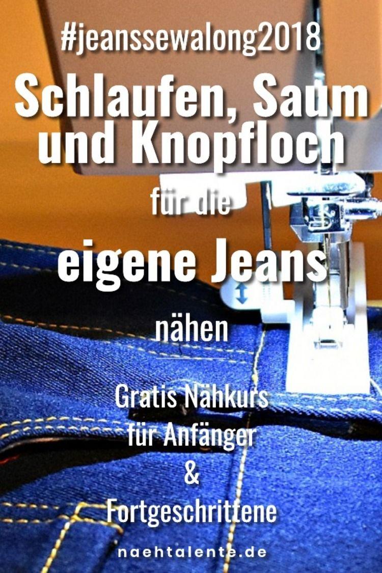 Jeans Nähkurs: Knopfloch, Gürtelschlaufen und das Knopfloch nähen