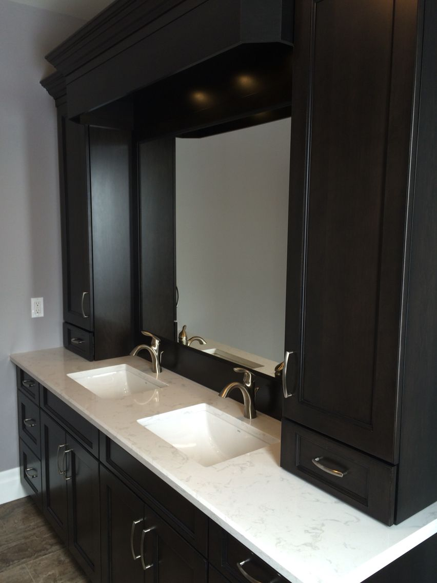 double vanity with storage tower. Dark maple double vanity with side storage towers  Cambria Quartz and Jeff Duimering Build