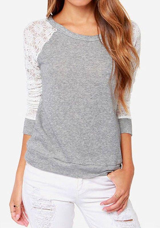 e14e5d8346fe7a Knit sweatshirt with baseball sleeves   Tops ↣   Backless shirt ...