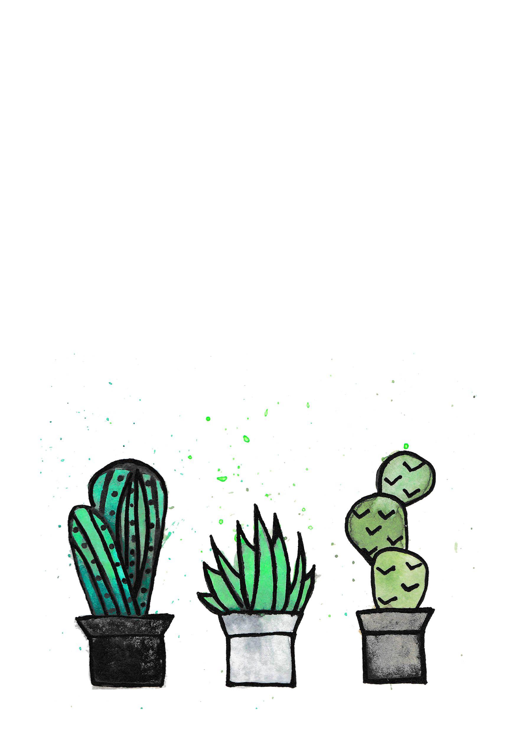 Kaktus Auf Weiß Aquarell Herunterladbares Poster/Print/ Datei Download  Greenery Kakteen Pflanzen Topfpflanze Dekoration