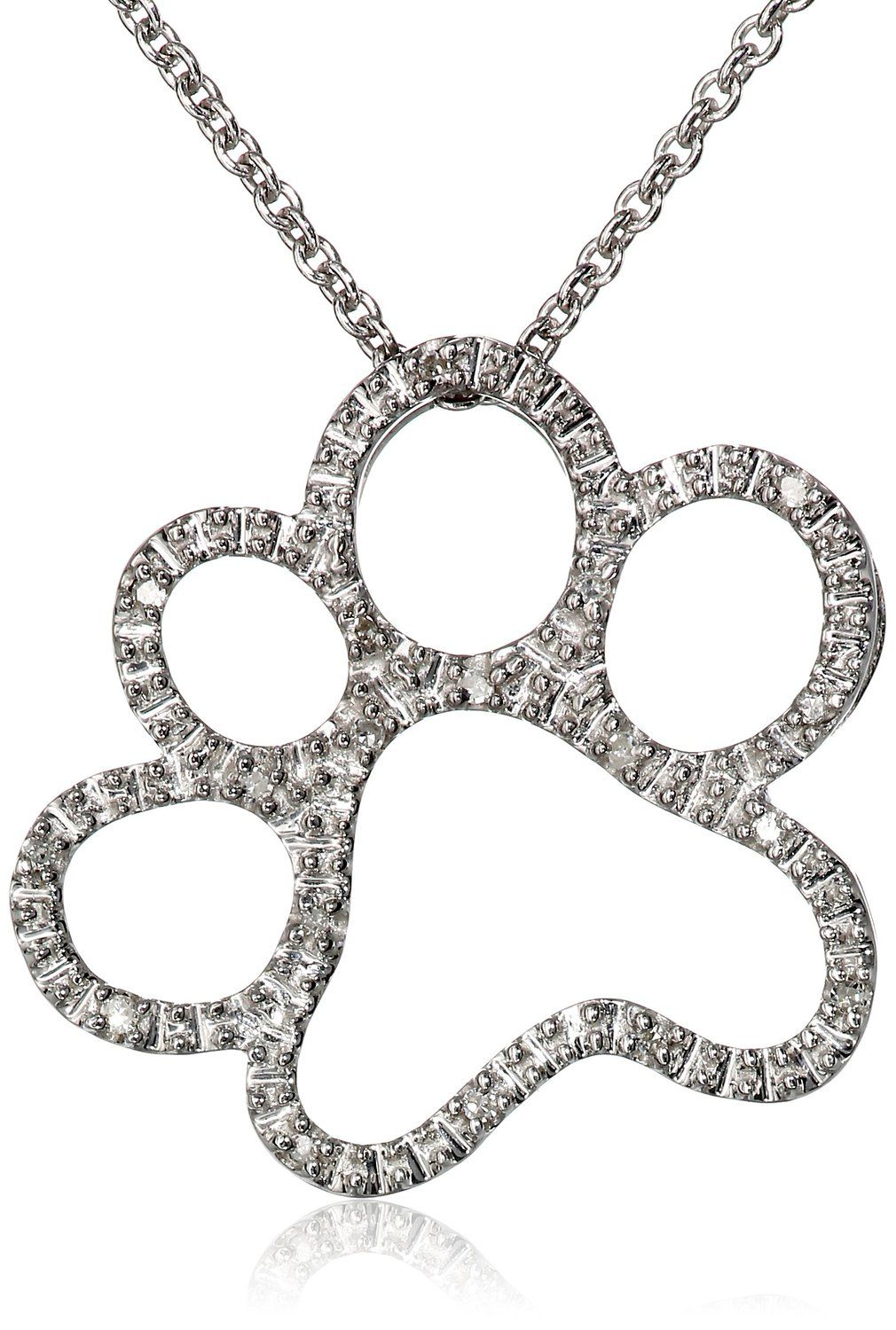 Silver and diamond dog paw pendant necklace dog paws pendants and silver and diamond dog paw pendant necklace aloadofball Gallery