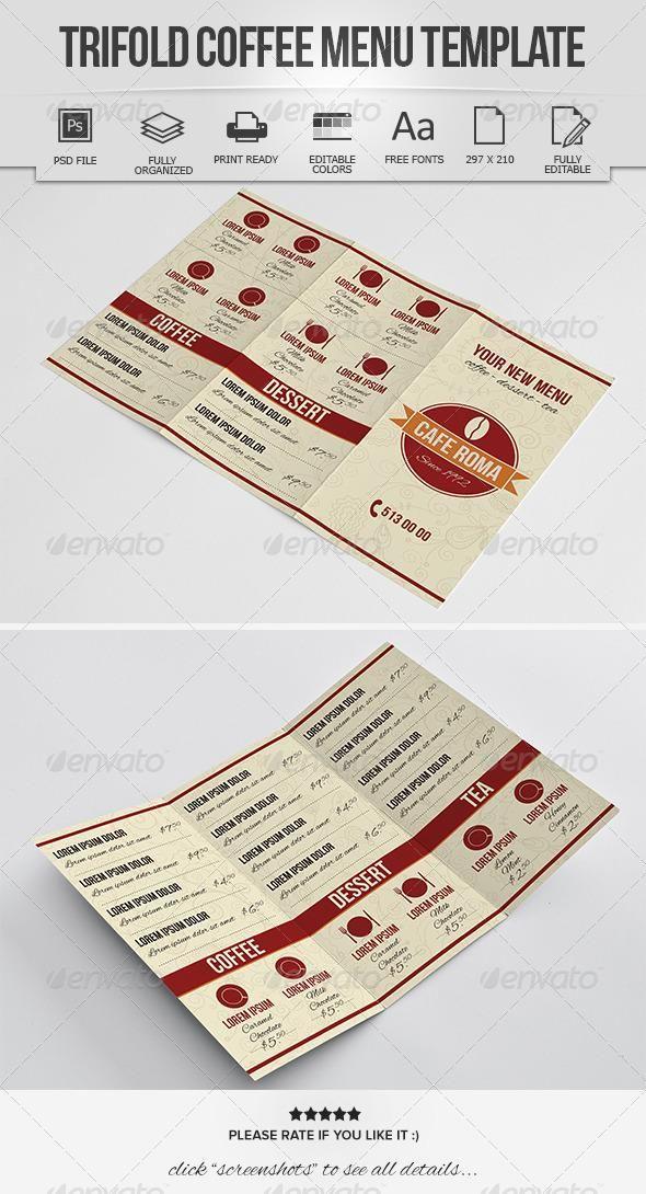 trifold coffee menu template coffee menu menu templates and menu