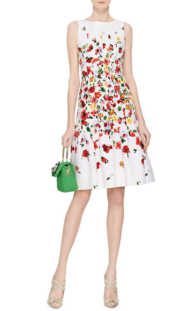 Quality For Sale Free Shipping Oscar de la Renta floral-print pleated dress Brand New Unisex Sale Online Buy Cheap Manchester Great Sale Buy Cheap Footlocker Pictures n63fvJ
