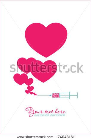 stock vector : Syringe with heart. Vector illustration 2.