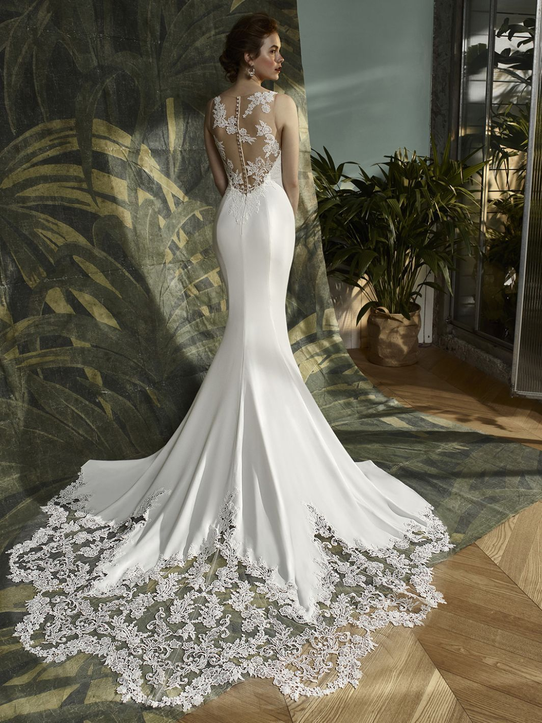 2018 Alma Novia Collection Randa Mermaid Style Crepe Georgette Wedding Dress With Long Wedding Dress Long Sleeve Trendy Wedding Dresses Wedding Dresses Simple [ 1920 x 1536 Pixel ]