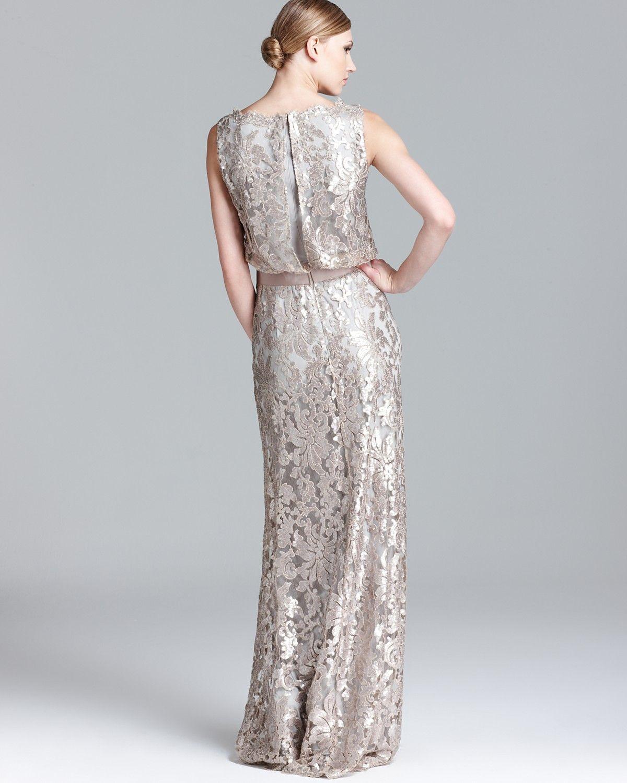 Tadashi Shoji Sequin Lace Gown - Sleeveless Blouson | Bloomingdale\'s ...