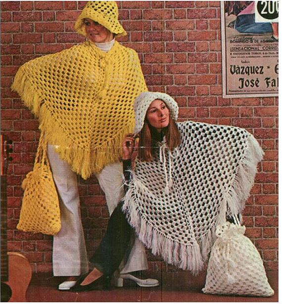 Crochet PONCHO Pattern Vintage 70s Crochet HAT Pattern Crochet BAG ...