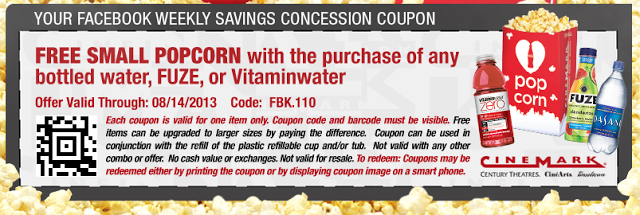 Cinemark Get A Free Small Popcorn W Purchase Of Water Fuze Or Vitaminwater Printable Coupon 8 7 8 14 Printable Coupons Print Coupons Coupons