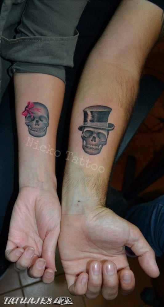 Simpáticos Tattoos De Parejita Y Sus Diseños De Calaveras El Con