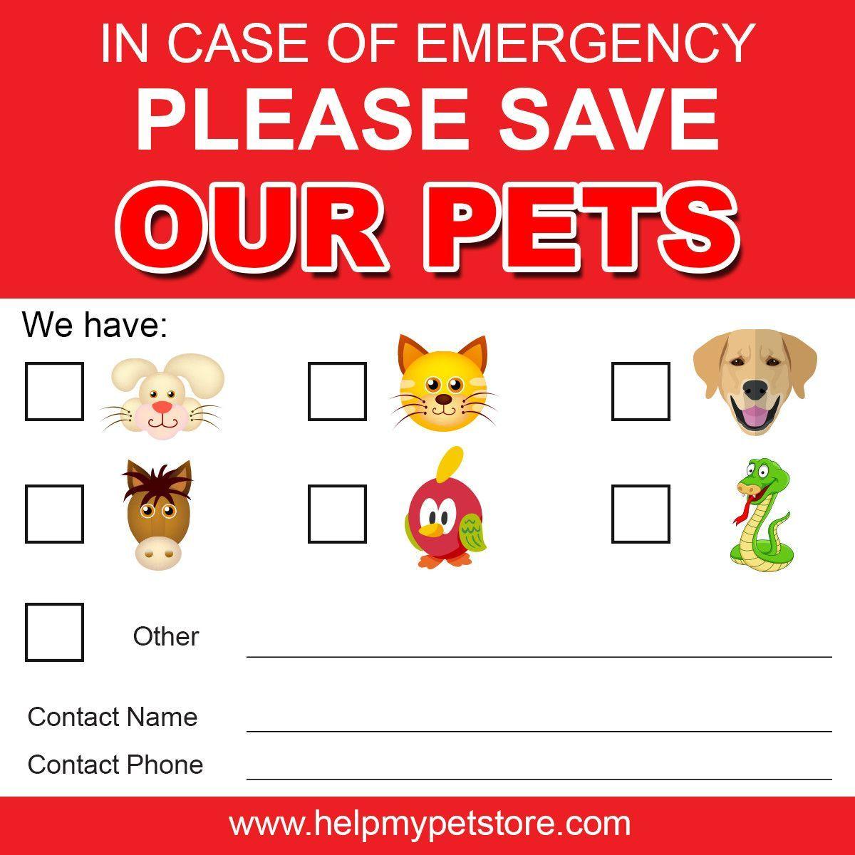 Emergency Save My Pet Window or Wall Sticker Instant Digital Download