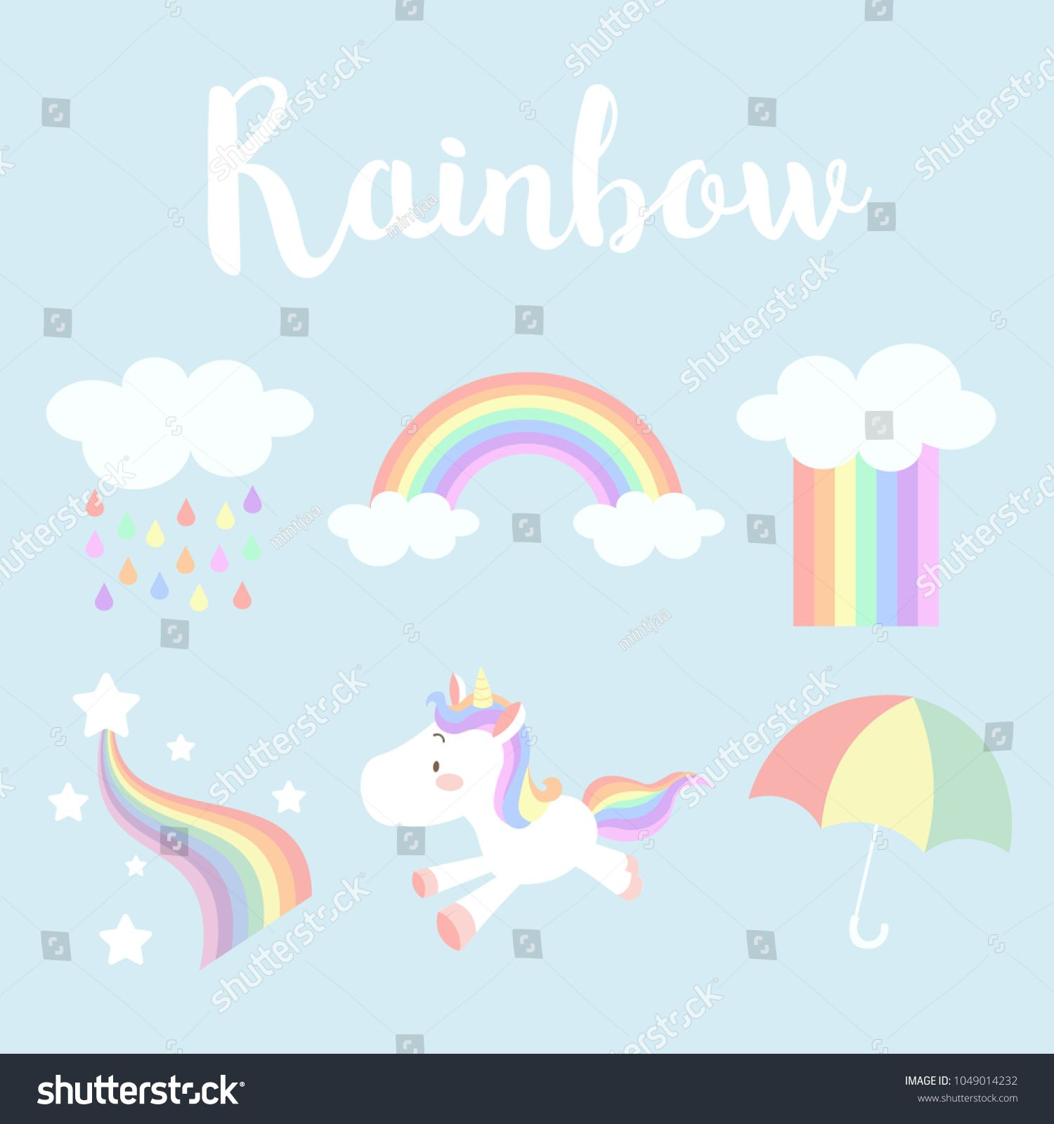 Set Of Cute Pastel Rainbow Vector Illustration Rainbow Cloud