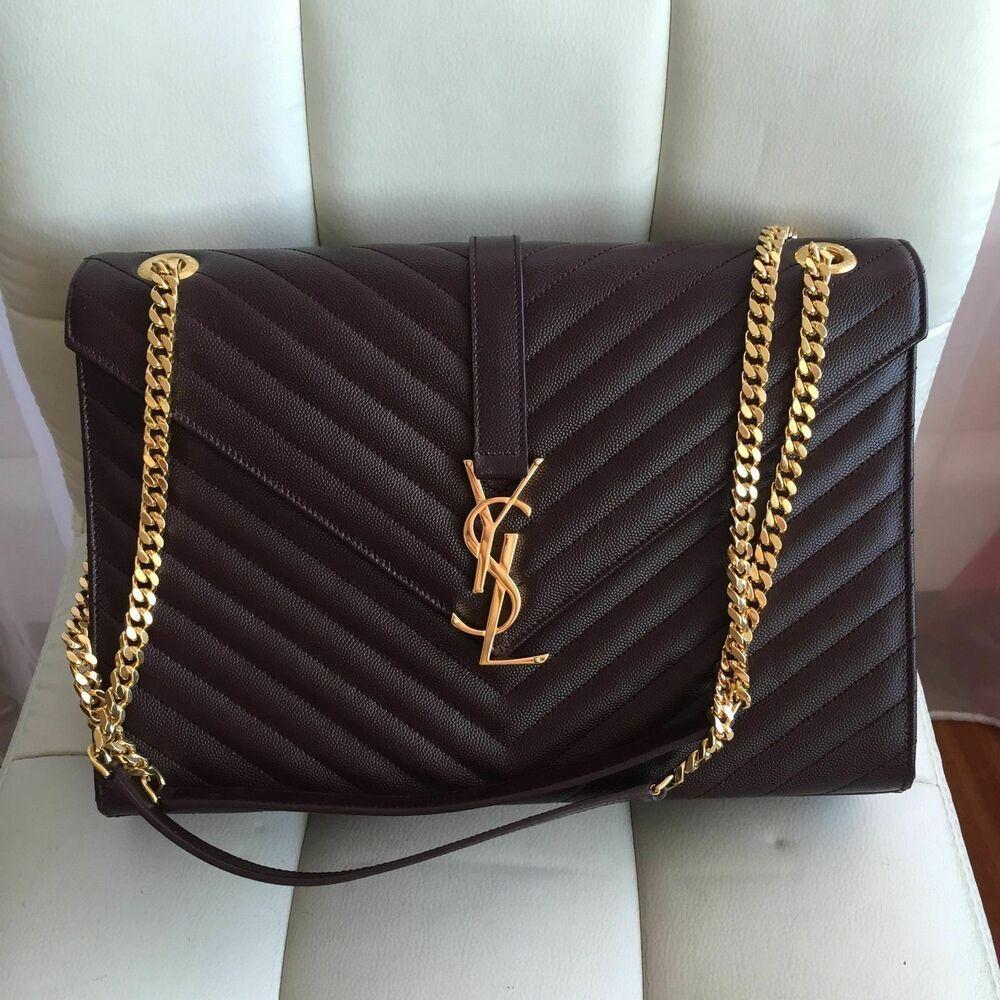 YSL Yves Saint Laurent Large Monogram Grained Leather