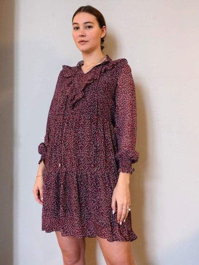 Langarmkleid mit Rüschen | Größe 40 in 2020 | Kleider ...