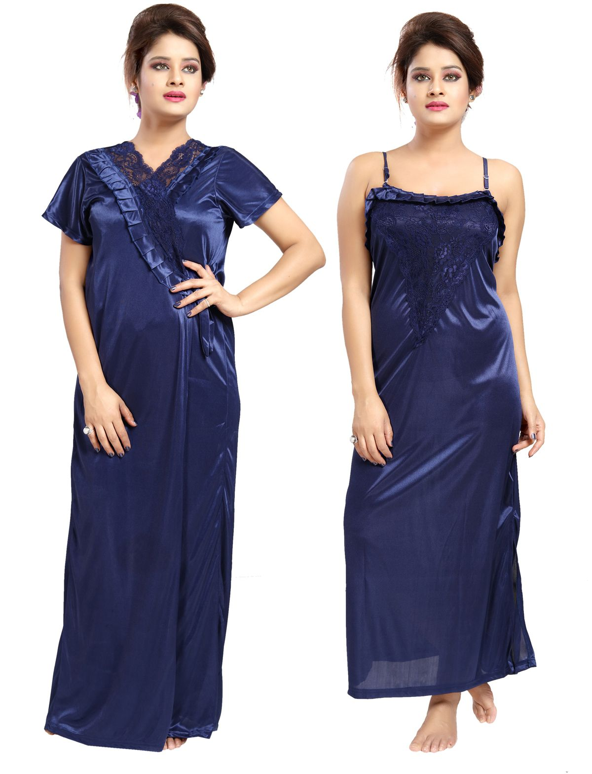 Be You Satin Dark Blue Plain 2 pieces Nighty Set for Women  a76d50d85