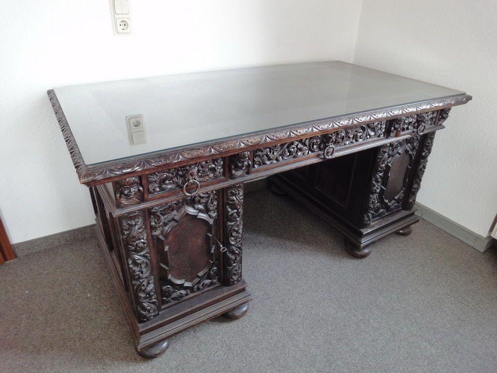Herrenzimmer Danziger Barock Antik Standuhr Schreibtisch