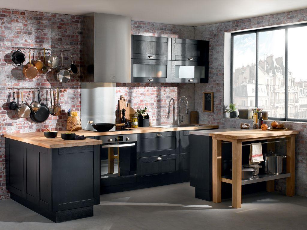 La cuisine bois et noir - cu0027est le chic sobre raffiné! - Archzinefr - Conforama Meuble De Cuisine