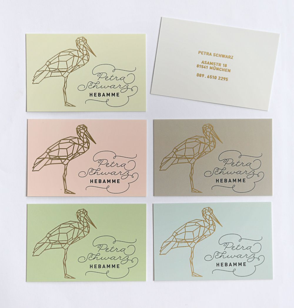 Businesscards For A Midwife In 6 Different Colors 4c