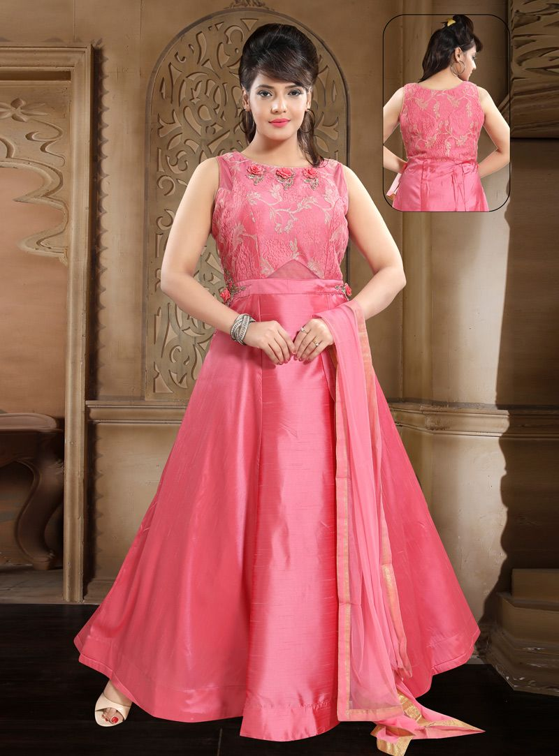 Buy pink crepe readymade abaya style anarkali suit online at
