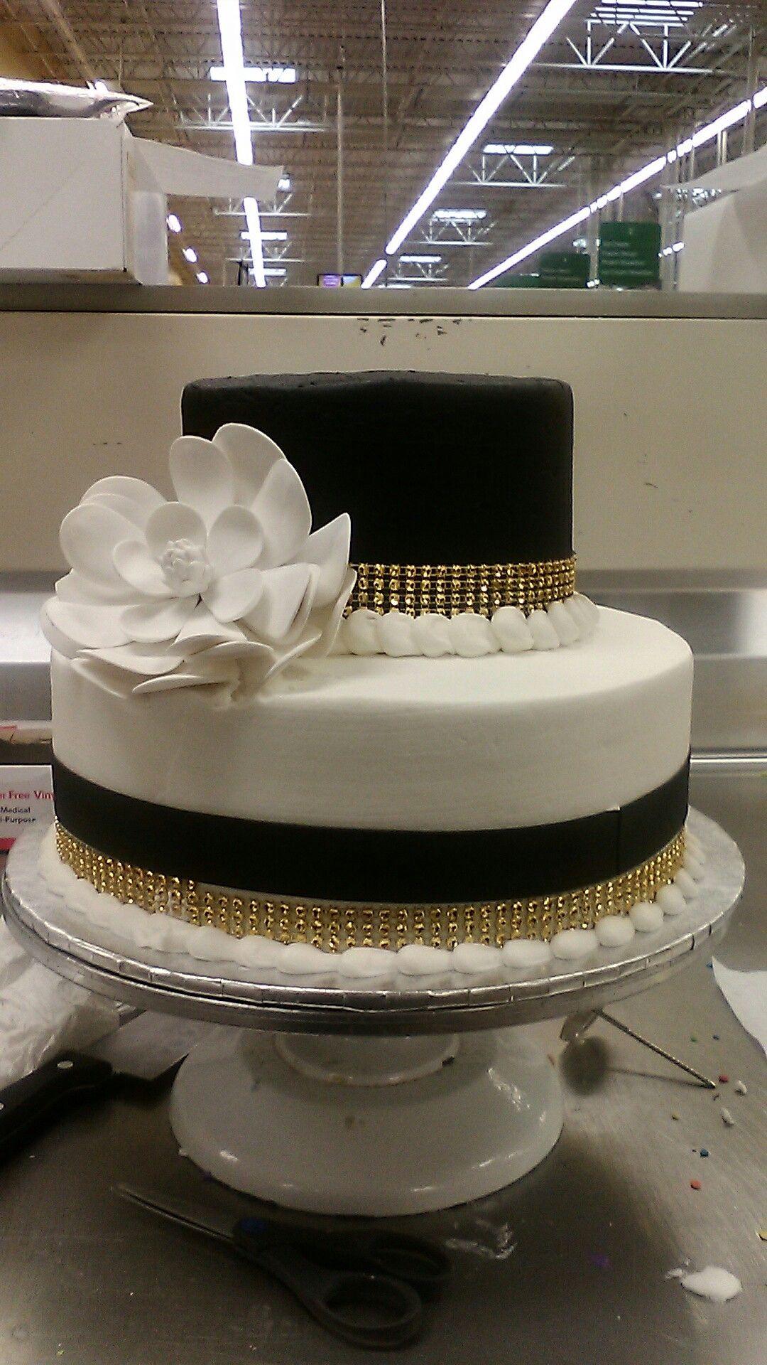 Custom 2 Tier Gold Diamante Black Fondant Strip Large White