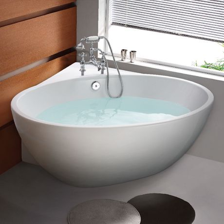 Orbit Corner Modern Free Standing Bath  1270 x 1270mm 41  Siglo Round Japanese Soaking Tub   Japanese soaking tubs  . Small Freestanding Soaking Tub. Home Design Ideas