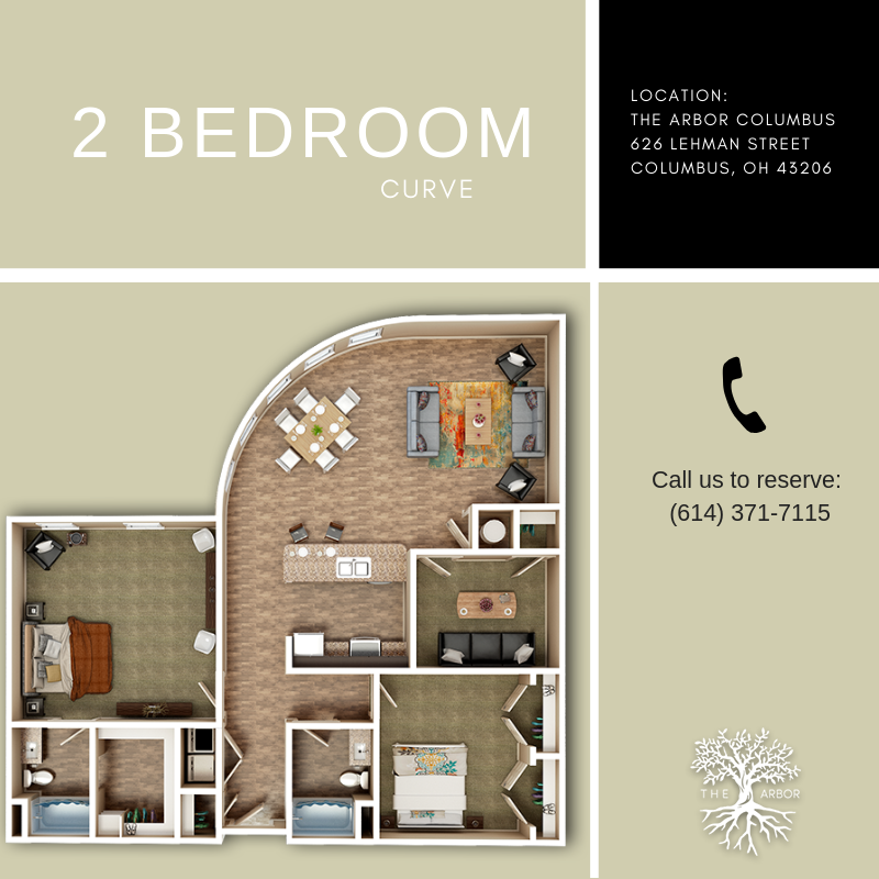 We Are Loving This 2 Bedroom Plus A Den Bonus Room Layout With A Row Of Big Windows In The Living Condo Floor Plans Apartments Columbus Ohio Luxury Apartments