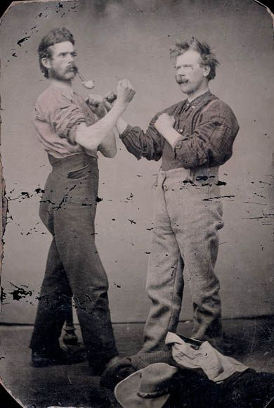 Two Men With Pipes Posing As Boxers Deux Hommes Pipes A La