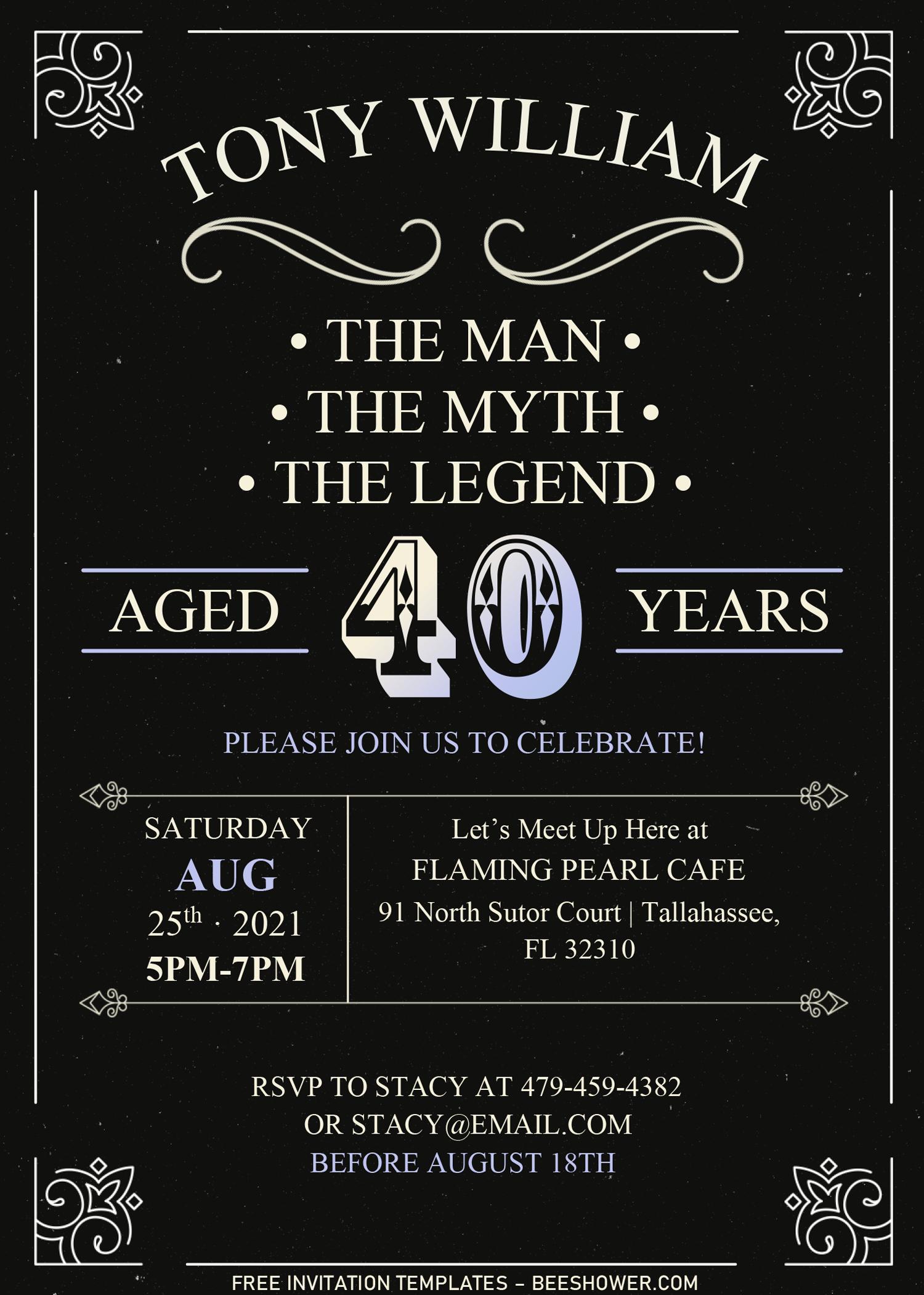 Vintage Dude Invitation Templates Editable With Microsoft Word In 2020 Invitation Template Printable Birthday Invitations Free Printable Birthday Invitations