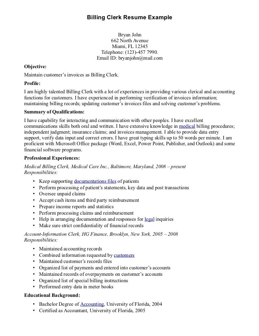 Billing Clerk Resume Sample Httpresumesdesignbilling Clerk