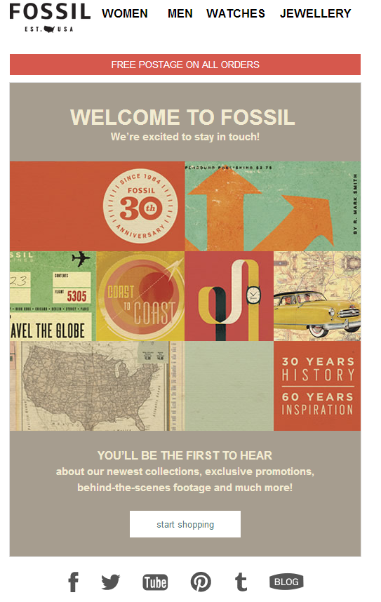 Welcome Email From Fossil Received Immediately After Sign Up Emailmarketing Pure360 Marketing