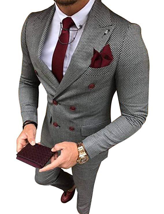 P/&G Mens 3-Piece Classic Fit Notch Lapel One Button Jacket Vest Trousers Suit