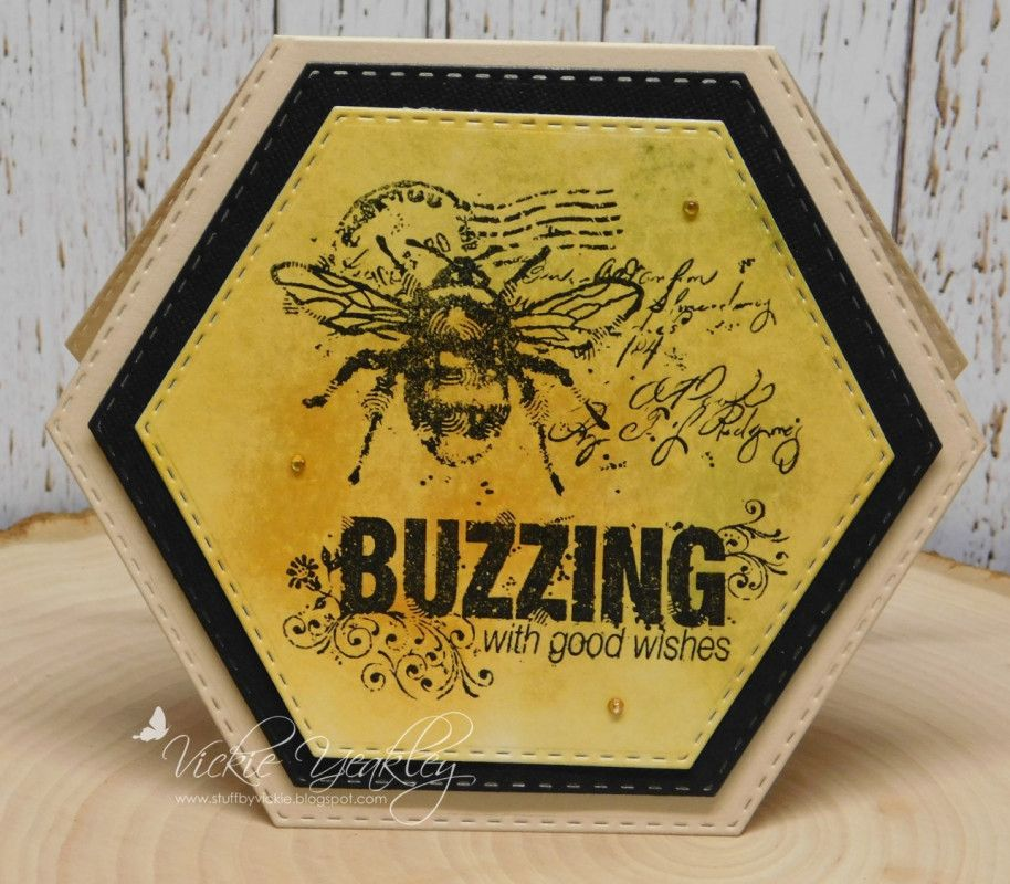 DTGD17LuvLee Honey Bee vky by Vickie Y - at Splitcoaststampers - 7/30/17.  (Pin#1: Shaped... Pin+: Flying Insects...).