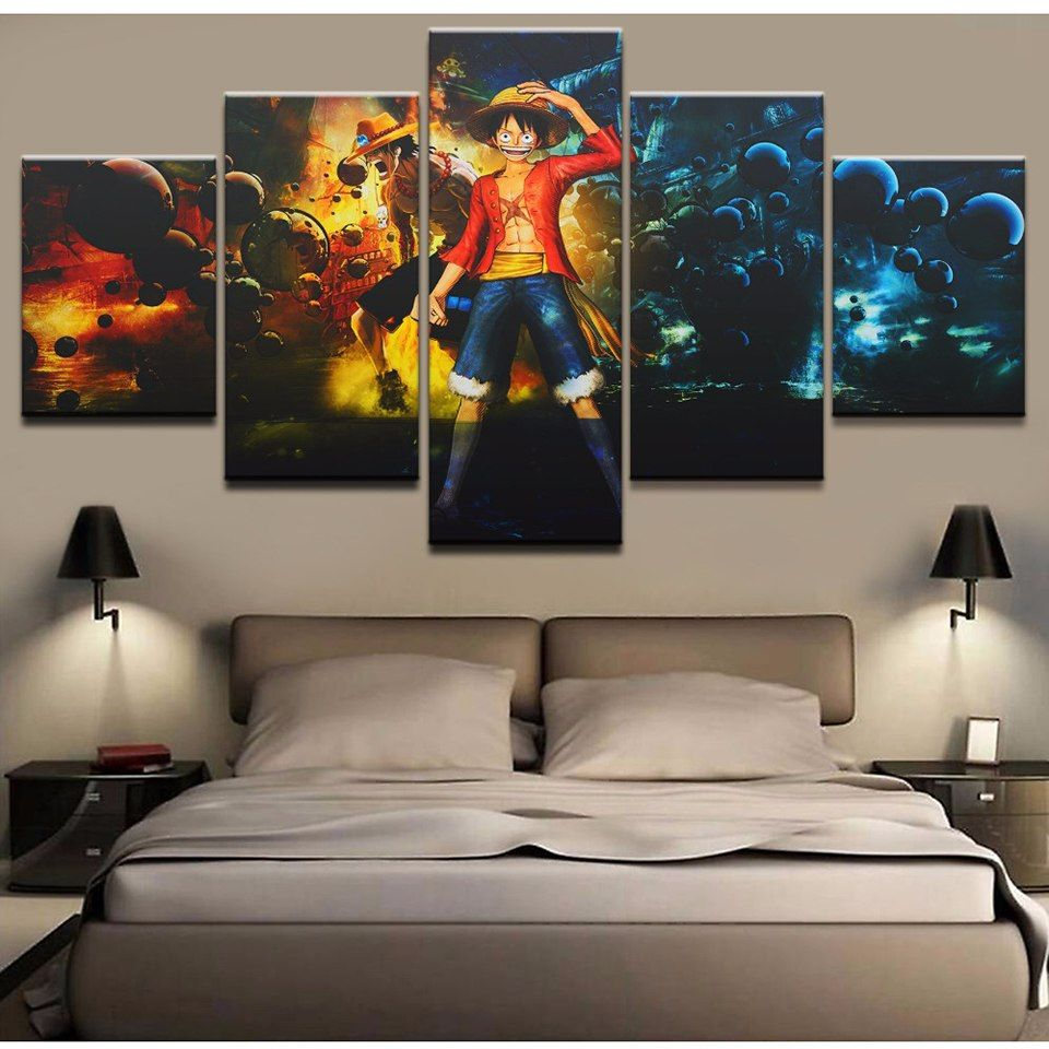 5 pieces canvas painting wall art one piece character
