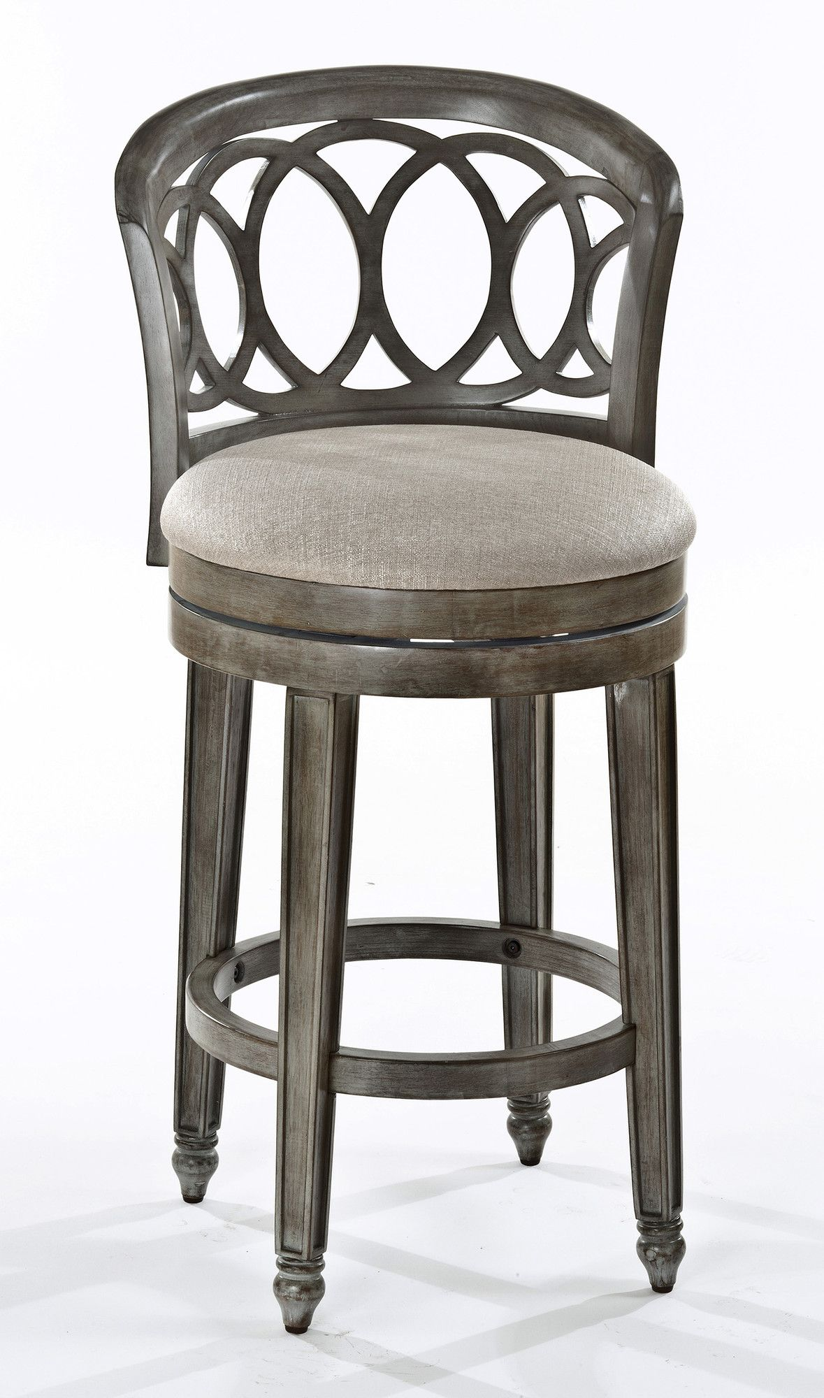 Features Lefkowitz Collection Interlocking Ring Design Has A Putty Finished Seat Covering Distres Swivel Counter Stools Bar Stools Swivel Bar Stools
