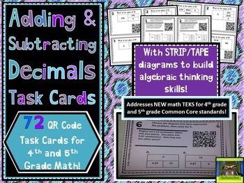 Add subtract decimals qr task cards with strip tape diagrams new add subtract decimals qr task cards with strip tape diagrams new math teks ccuart Images
