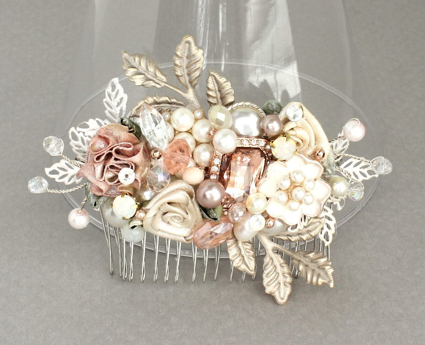 Rose gold wedding hair accessories - Rose Gold Bridal Comb Bridal Hair Accessories Rose Gold Hairpiece Wedding Hair Accessories